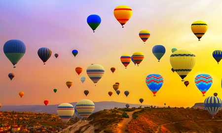 Tourists ride hot air ballons flight Balloon Festival panorama