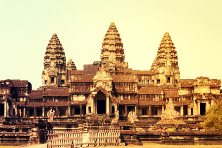 Angkor Wat, part of Khmer temple complex, Asia. Siem Reap, Cambodia. Ancient Khmer architecture in jungle.