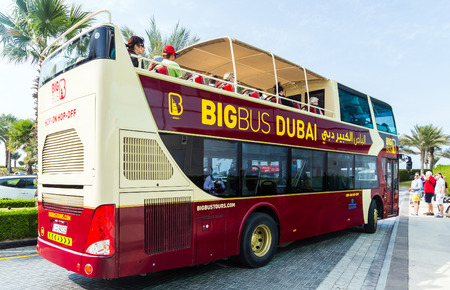 DUBAI, UAE - JANUARY 26: Big Bus excursion Dubai, The Day Tour is a hop-on, hop-off sightseeing tour of Dubai, with a personal recorded commentary available in 12 languages.