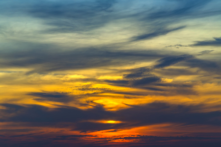 grenada: Sky background.Fantastic dreamy sunrise, bright blue skies and colorful clouds, landscape at sunrise. Stock Photo