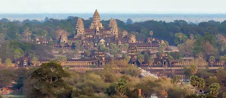 Cambodian landmark Angkor Wat, Asia. Siem Reap, Ancient Khmer architecture in jungle.