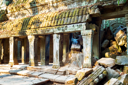 wall Ruins of Angkor Wat, part of Khmer temple complex, Asia. Siem Reap, Cambodia. Ancient Khmer architecture in jungle. Stock Photo