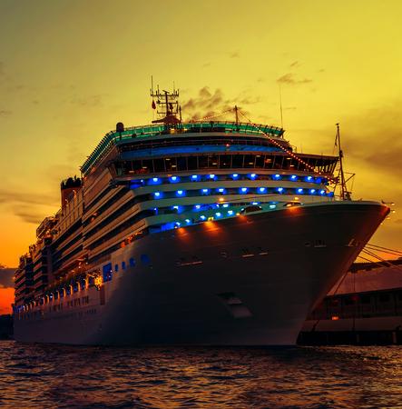 Cruises travel Istanbul Port Bosporus Sunset Stock Photo