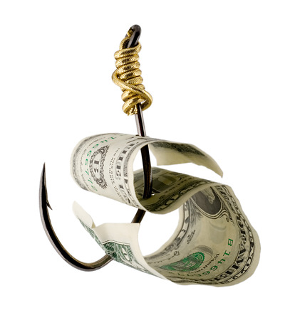dollar bill on a fishhook isolated on white background