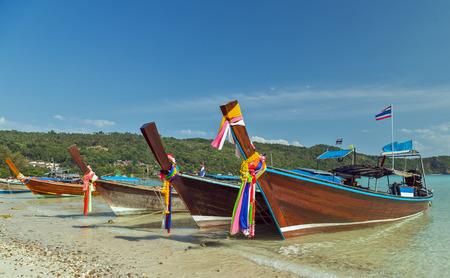 Traditional thai transportation Boats on beach island Thailand Stock Photo