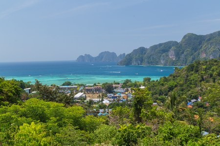 Tropical island with resorts - Phi-Phi island, Krabi Province in andaman sea, South of Thailand.