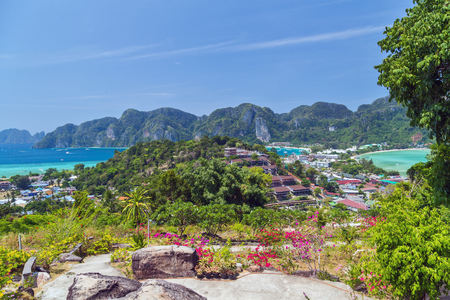 Tropical island with resorts - Phi-Phi island, Krabi Province, Thailand andaman sea