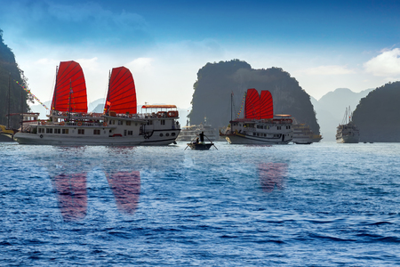 Red sail junk Ha Long Bay, Vietnam.