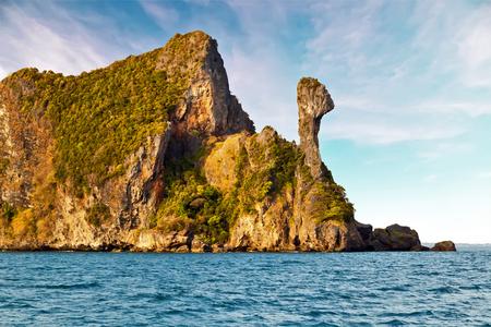 seascape of paradise tropical Chicken Head Island, limestone rocks. Phi Phi Leh Krabi in Thailand