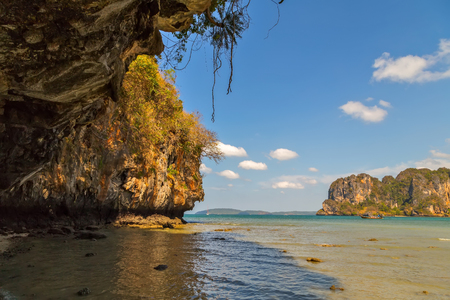 Landscape coastline of paradise tropical island andaman sea in Krabi, Thailand. limestone rocks