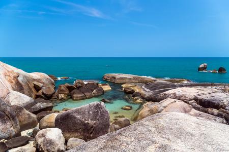 granite rocky beaches on tropical sea. beach landscape summertime