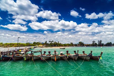 Longtrail boats on port Seaside, Andaman sea Krabi,Thailand.