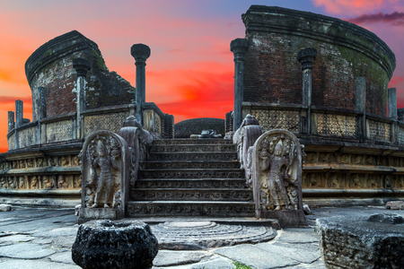 Ancient ruins Vatadage Sanctuary, Circular Relic House, Polonnaruwa - medieval capital of Ceylon