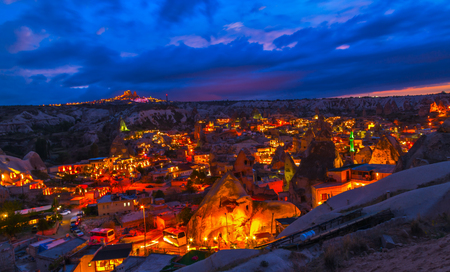 night Goreme, landscape Cappadocia, Anatolia, Turkey.