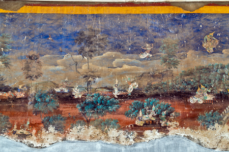 Phnom Penh, Cambodia - 3 MARCH 2015: Painted wall on religious subjects, describing history of the Kampuchea in Royal Palace in Phnom Penh, Cambodia Editorial