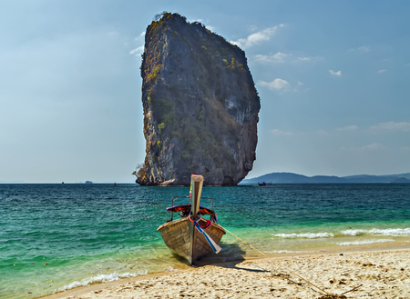 Koh Poda island with beautiful white coral sand beaches and crystal clear water.Landscape of paradise tropical island, limestone rocks. Thailand Landscape Stock Photo