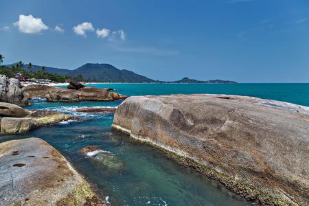 granite rocky beaches on tropical sea. landscape summertime Koh Samui, Thailand,