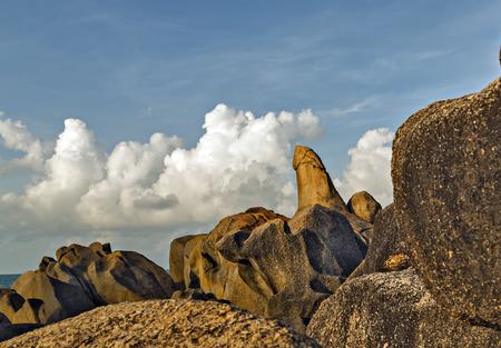 Grandmother and Grandfather Rocks in Lamai Beach, Koh Samui, Thailand, Hin Ta and Hin Yai rock formations most popular.