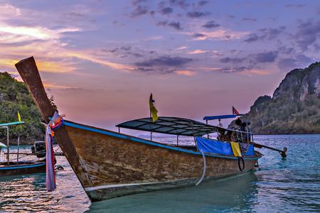 Long Tail Boat Seascape Beautiful Asian Beach Seaside, Thailand Landscape