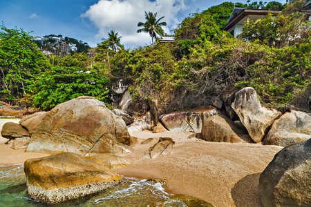 Koh Samui, Thailand. Tropical rock beach and sea summer nature landscape Paradise island.
