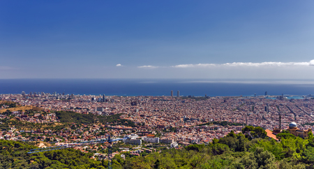 Barcelona Aerial drone birds eye view skyline Cityscape architecture landmark capital Catalonia Stock Photo