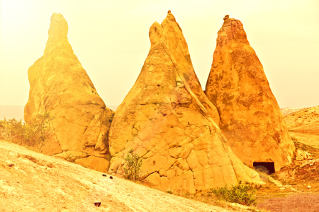valley at Cappadocia, Turkey. Volcanic mountains in Goreme national park Stock Photo
