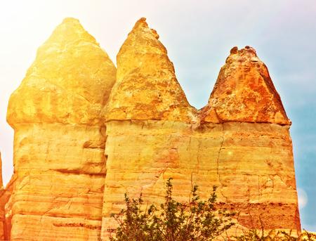 Rock volcanic formations Stone columns, mountain Love valley landscape, Turkey, Cappadocia. Goreme national park. Stock Photo