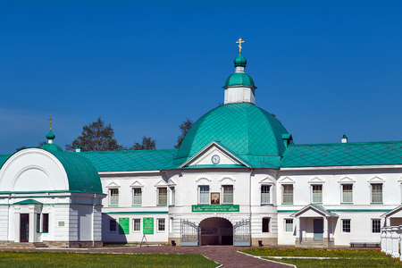 The stone Chapel of the Holy Trinity was built in XIX century on the spot where St. Alexander Svirsky saw the Most Holy Trinity. Monastery. Leningrad Oblast. Russia