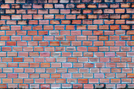 brick wall background red urban cracked building Stock Photo