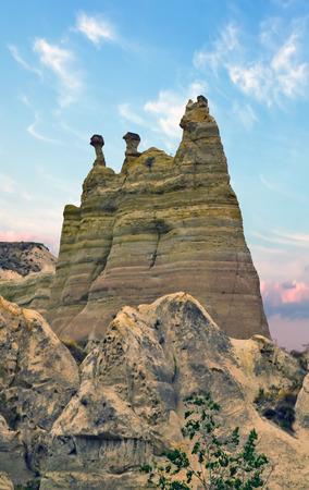 Goreme National Park and the Rock Sites of Cappadocia, Anatolia, Turkey. Volcanic mountain landscape. Stock Photo