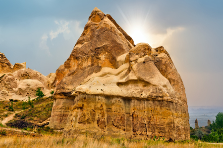 Rising Sun Volcanic rock formations in Cappadocia, Anatolia, Turkey.