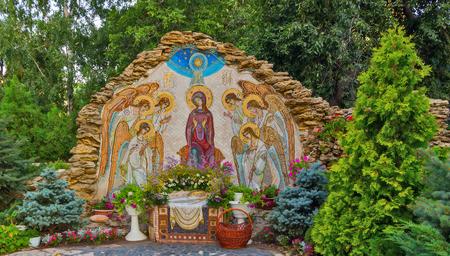 ODESSA, ウクライナ - 8月 19, 2013: 天使と聖母マリアのクリスマスモザイクアイコンイエス・キリストの発祥の地.正統派の聖寮修道院。