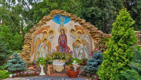 ODESSA, Ukraine - AUGUST 19, 2013: Christmas mosaic icon of Virgin Mary with angels the birthplace of Jesus Christ. Orthodox Holy Dormition Monastery.