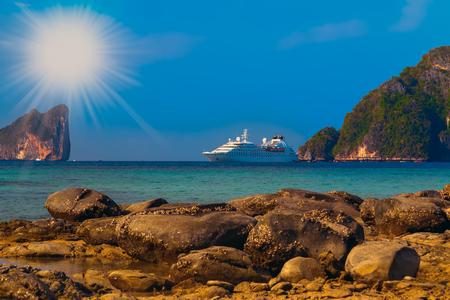 Tropical island with resorts cruise liner - Phi-Phi island, Krabi Province, Thailand.
