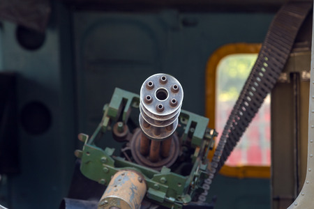 six-barrel rotary machine gun with a high rate of fire in the door helicopter. Stock Photo