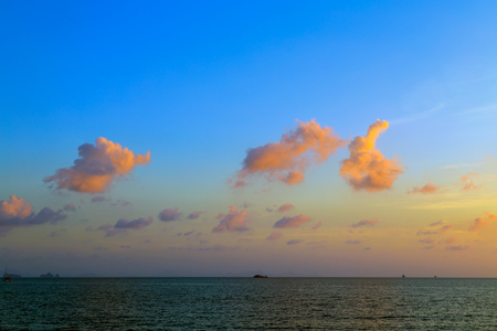 Beauty Scene or sun over colorful sky with clouds Seascape tropical nature background.
