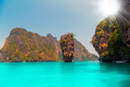 Summer holidays, Thailand James Bond cliff stone Island, Phang Nga