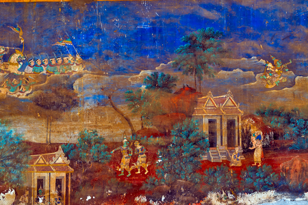 Frescoes of Reamker Painted wall on religious subjects, describing history of the Kampuchea in Royal Palace in Phnom Penh, Cambodia Editorial