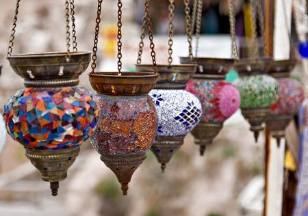 Arabic colored decorative lamps oriental traditional souvenirs 스톡 콘텐츠