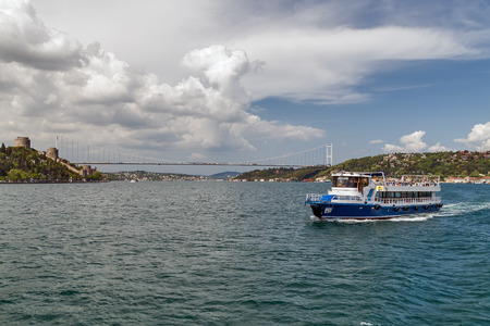 Ferry passenger boat on the Gulf Golden Horn, Channel Bosphorus Strait Sea front landscape of Istanbul historical part, Turkey famous city. Editorial