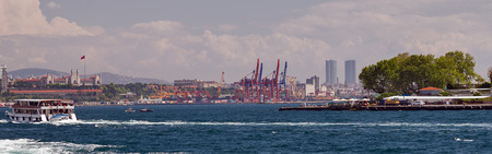 Container Cargo Cranes Loading and unloading of containers in the sea port Istanbul, logistic import export terminal. Turkey landmark
