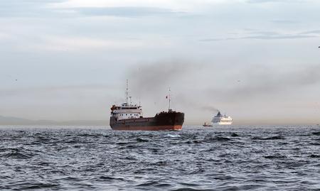 Cargo ship tanker in the Channel Bosphorus Strait international logistic sea, Istanbul, Turkey Stok Fotoğraf