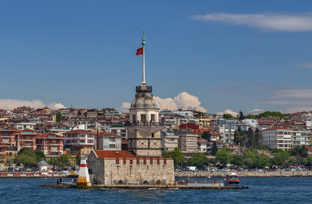 Maidens Tower on the Bosphorus Strait that separates the Black Sea and the Sea of Marmara. Outdoor Istanbul city. Turkey landmark Kiz Kulesi.