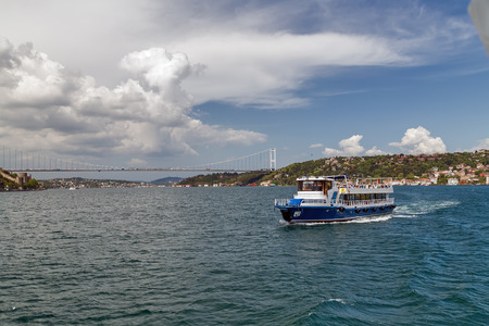 Ferry passenger boat on the Gulf Golden Horn, Channel Bosphorus Strait Sea front landscape of Istanbul historical part, Turkey famous city. Stock Photo