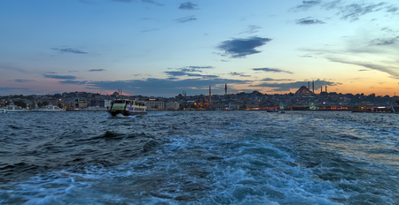 Panorama of Cityscape sunset summer Istanbul is a transcontinental city in Eurasia, Bosphorus Strait that separates the Black Sea and the Sea of Marmara. Turkey.