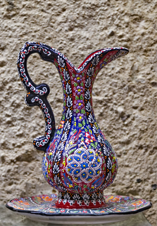Decorative souvenir Hand drawn wine pitcher. Turkish ornament seamless pattern decoration