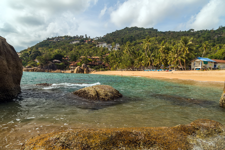 Tropical rock beach and sea summer nature landscape Banque d'images