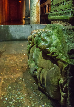 The sideways Medusa head. Basilica Cistern the city of Istanbul, Turkey. Stock Photo