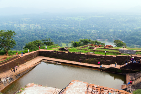 Landscape of ruin Royal Pools, Lion Rock Sigiriya, Attractions water cistern on top of the Rock fortress, Historical Places in Sri Lanka