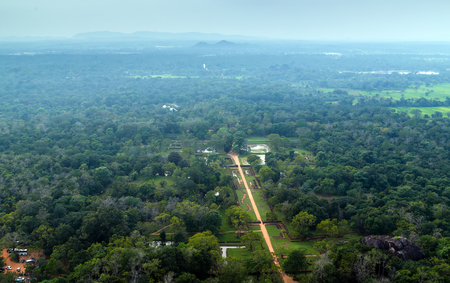 Landscape of ruin Royal Gardens and Pools, Lion Rock Sigiriya, Attractions, Historical Places in Sri Lanka Stock Photo
